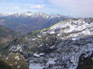 La parte superiore dell' itinerario al Bec di Nona.