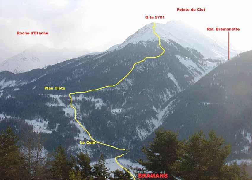 Itinerario alla quota 2701 P.te du Clot