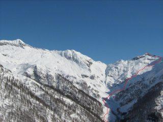 La Val d'Egua con il percorso di salita al Cimone