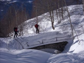 quasi a trovinasse, passaggio nel bosco....c'è giusto un po' di neve!