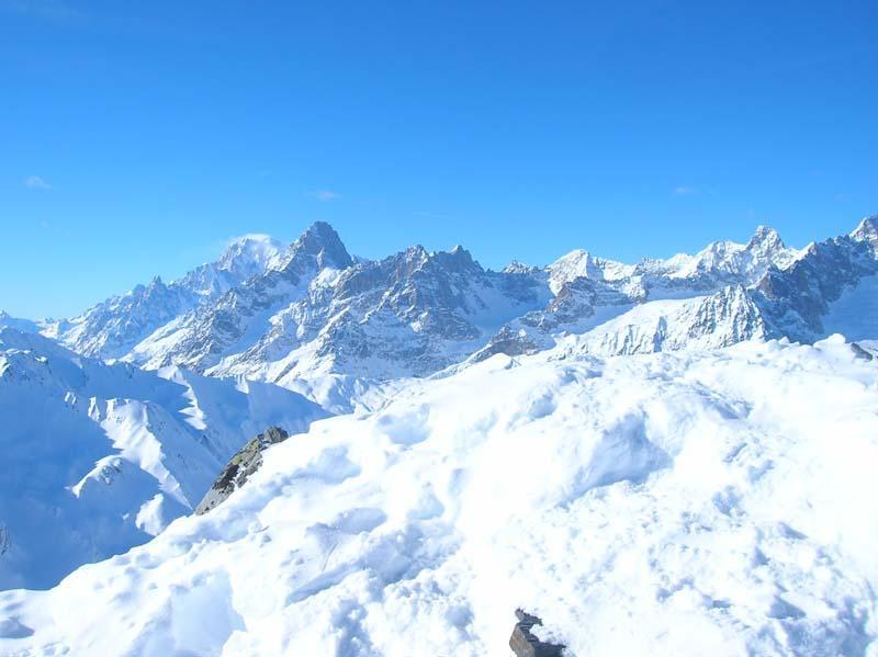 Monte Bianco e Grandes Jorasses viste dalla vetta del Tellier
