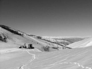 Colle del Prete in inverno dalla cima a sud