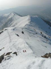 la cresta percorsa vista dalla cima