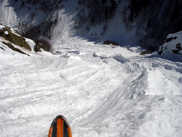 La zona di accumulo della Valanga del Vallone del Matto