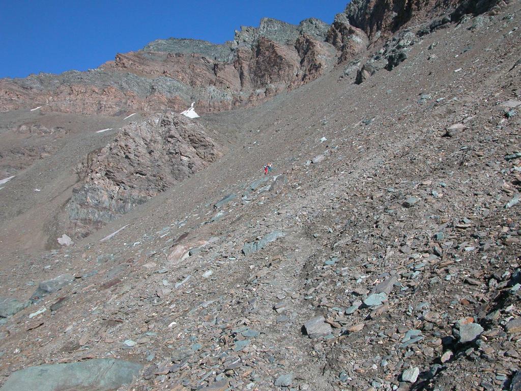 l'immensa pietraia che porta verso la base del canale che scende dal Colle della Nera (17-7-2005)