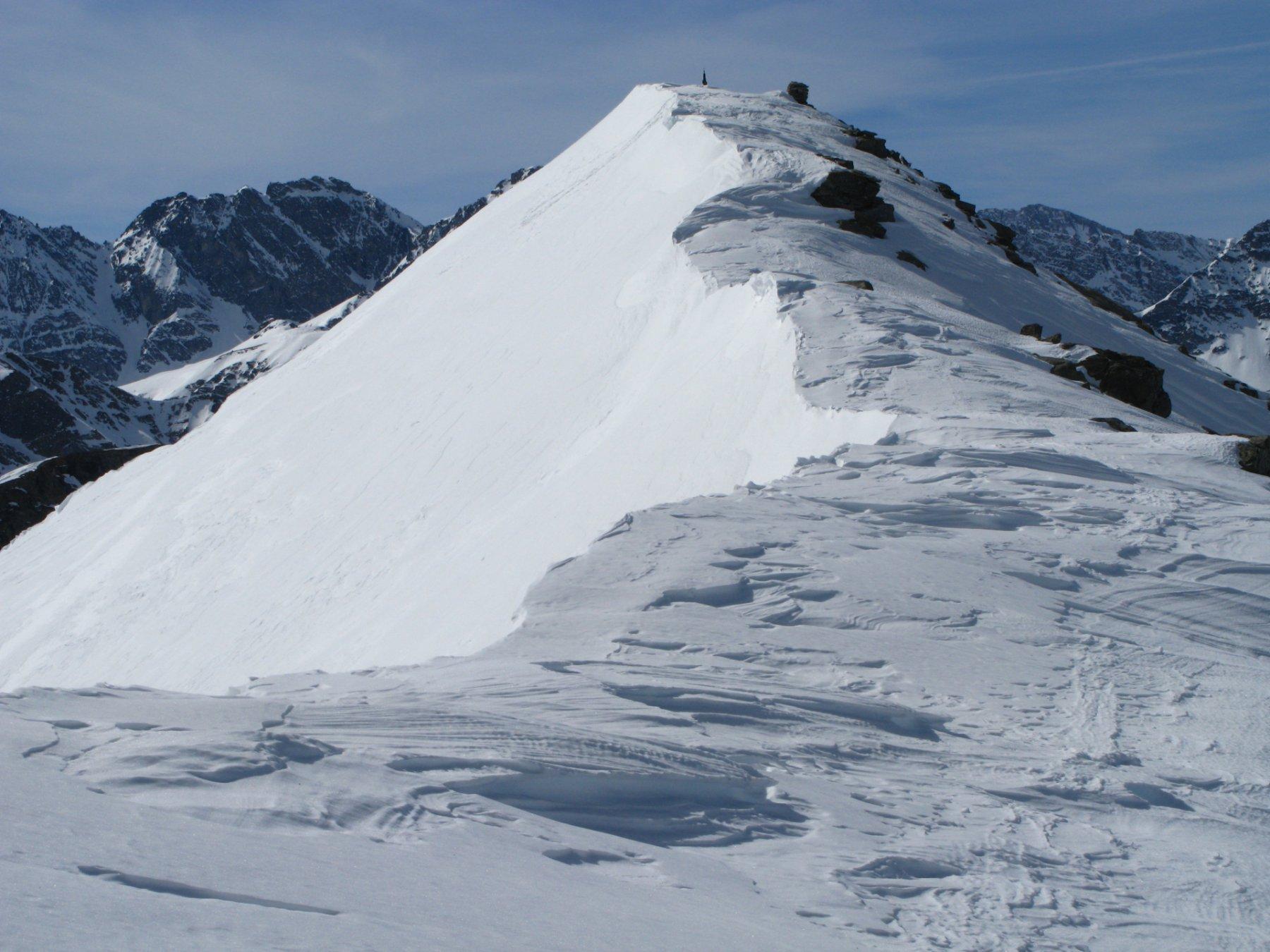 ultimi metri di cresta prima di raggiungere la cima