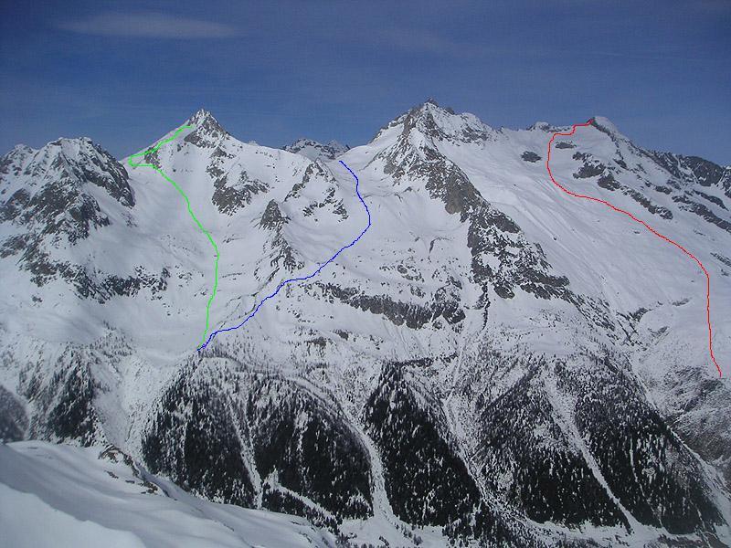 rosso piz Pesciora - blu passo di Rotondo - verde Chuebodenhorn