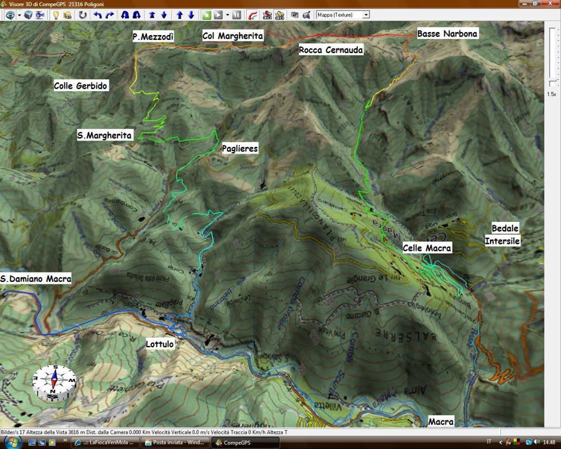 Traccia GPS su mappa 3D Anello Rocca Cernauda da Lottulo