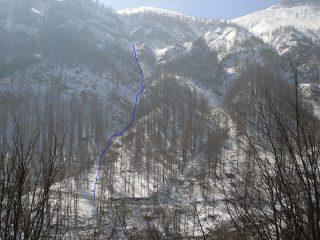Itinerario di salita della Coulera della Rocca di Granè