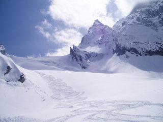 Tracce all'imbocco del ghiacciaio
