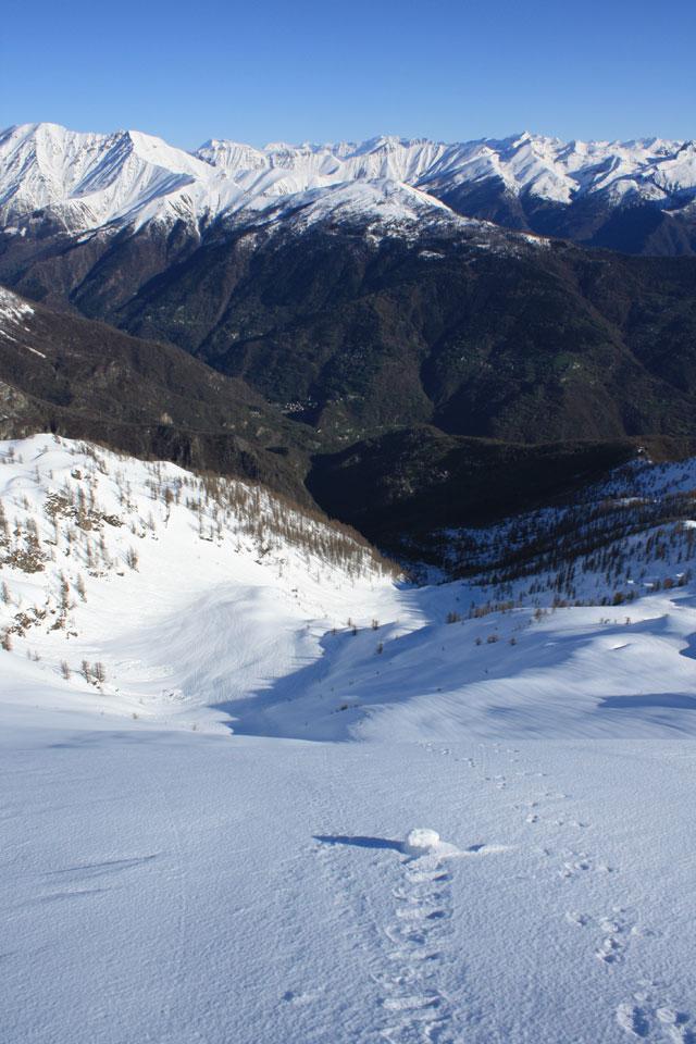 il vallone percorso visto dalla cima