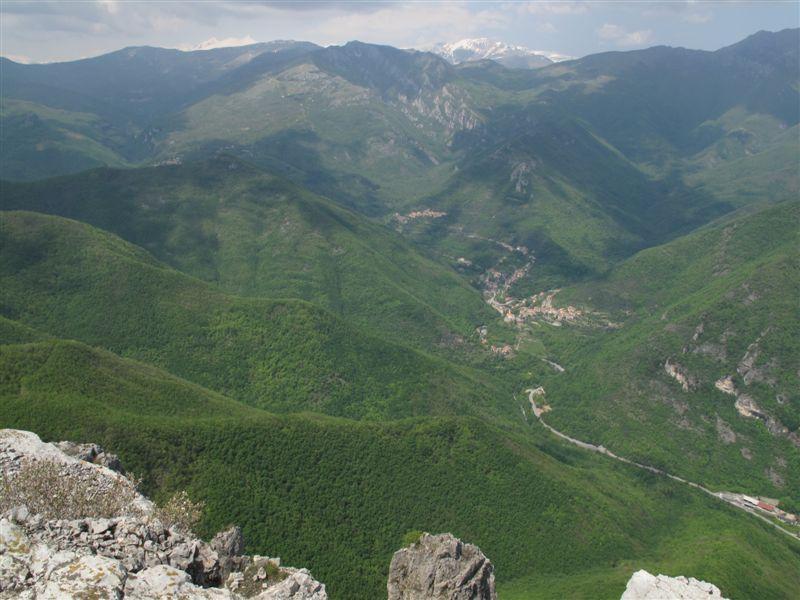 Il boscoso versante di salita con Nasino e Borgo