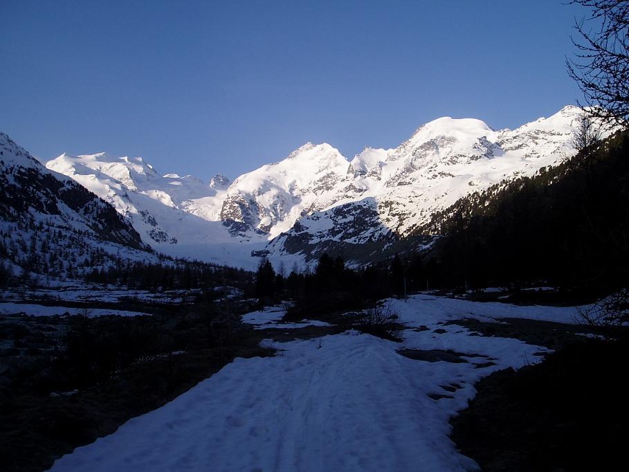 Vista del gruppo del Bernina da Morterash