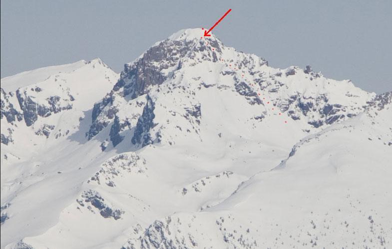 itinerario: la freccia indica il punto di raccordo fra torrione e fog free