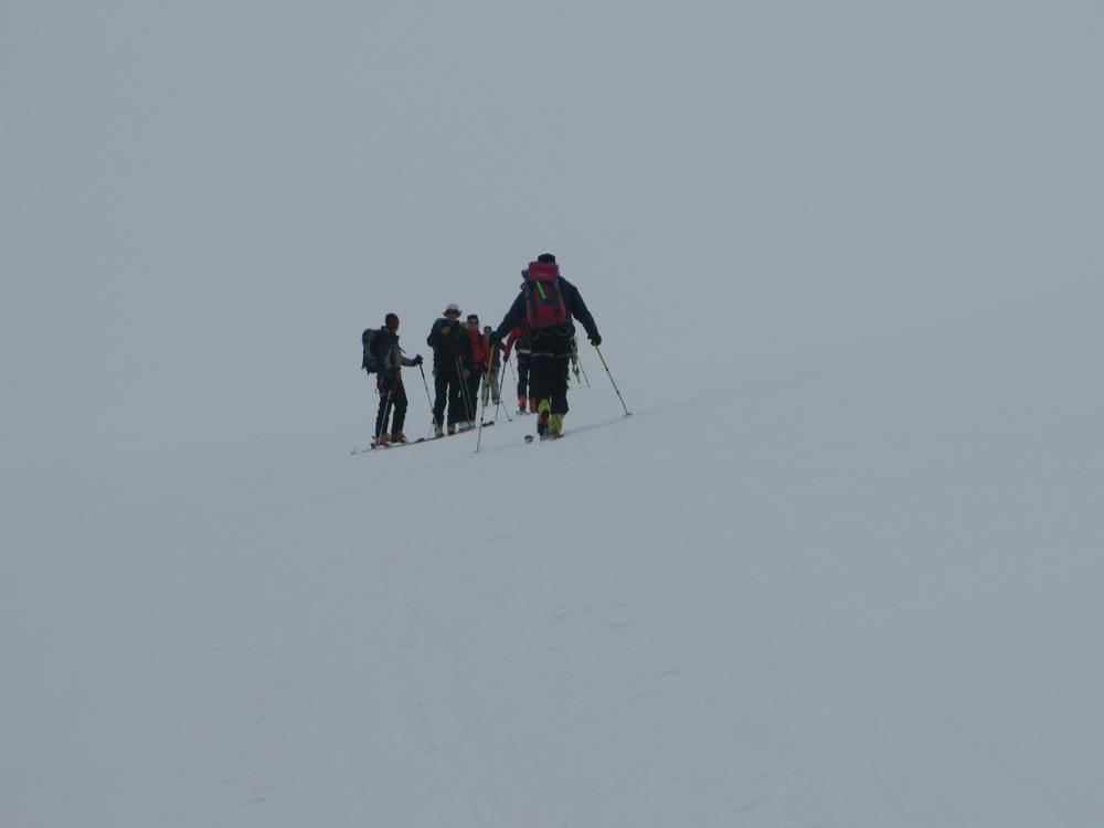 Colle del Breithorn nella nebbia