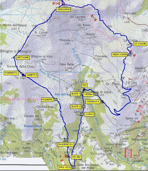 Cartina con il tracciato