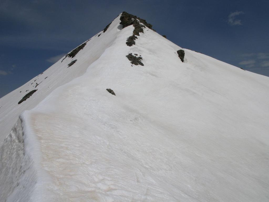 la cresta nevosa finale vista dal Pas de la Cula (23-5-2009)