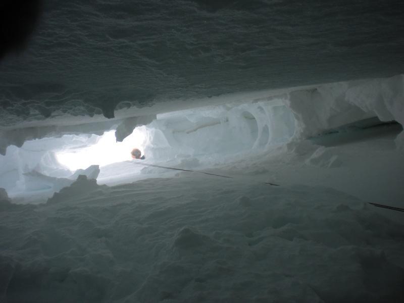 foto dal fondo del crepaccio