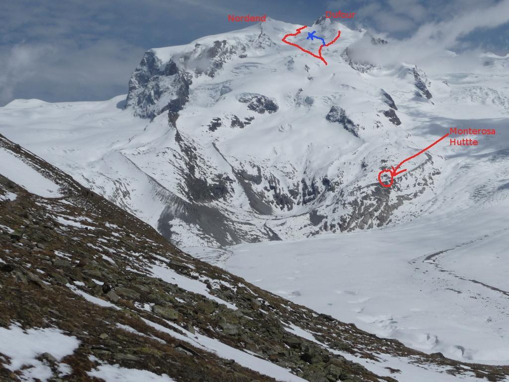 Panoramica con itinerario sbagliato (blu)