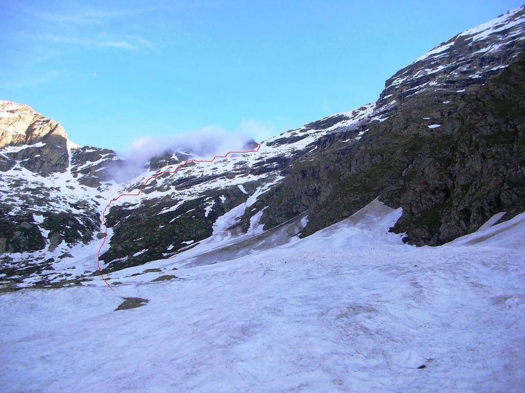 La via di salita dal vallone del Levi-Molinari