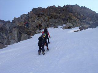 salendo verso il tratto roccioso che precede la cima (28-6-2009)