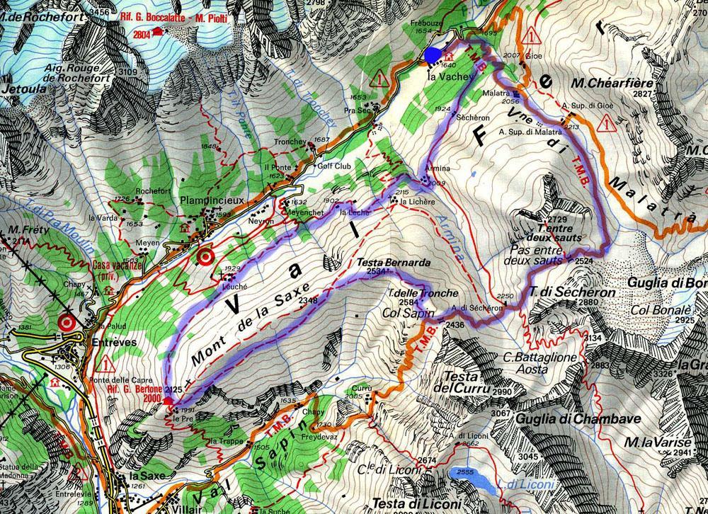 Cartina dell'anello da La Vachey
