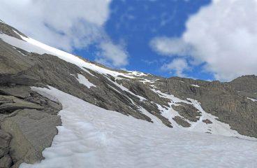 ripidi pendii per entrare sul ghiacciaio