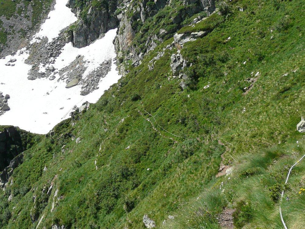 Corde fisse lungo la traccia che passa sotto la parete Piacenza