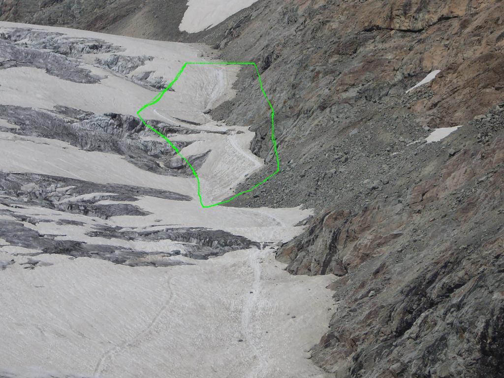 Il tratto su ghiacciaio che ho preferito evitare
