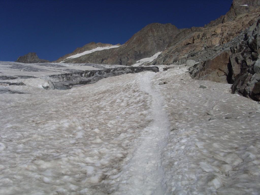 Sul ghiacciaio, nella zona da cui son tornato sul sentiero