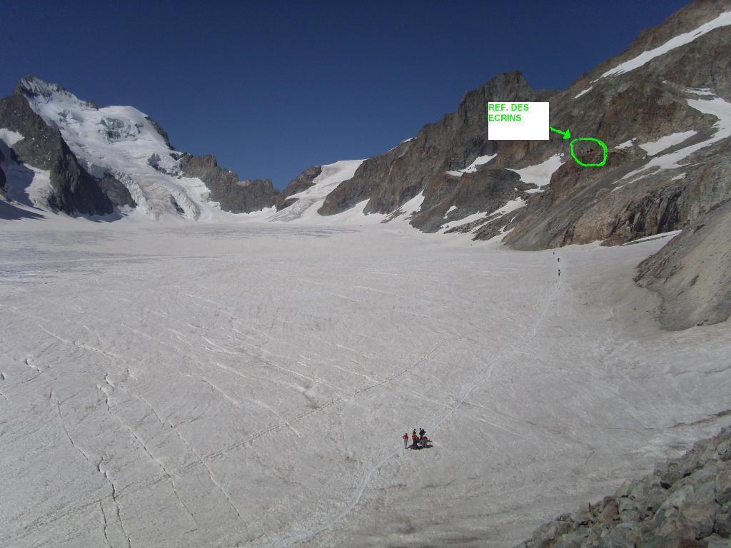 Il tratto finale di ghiacciaio, nessun pericolo evidente