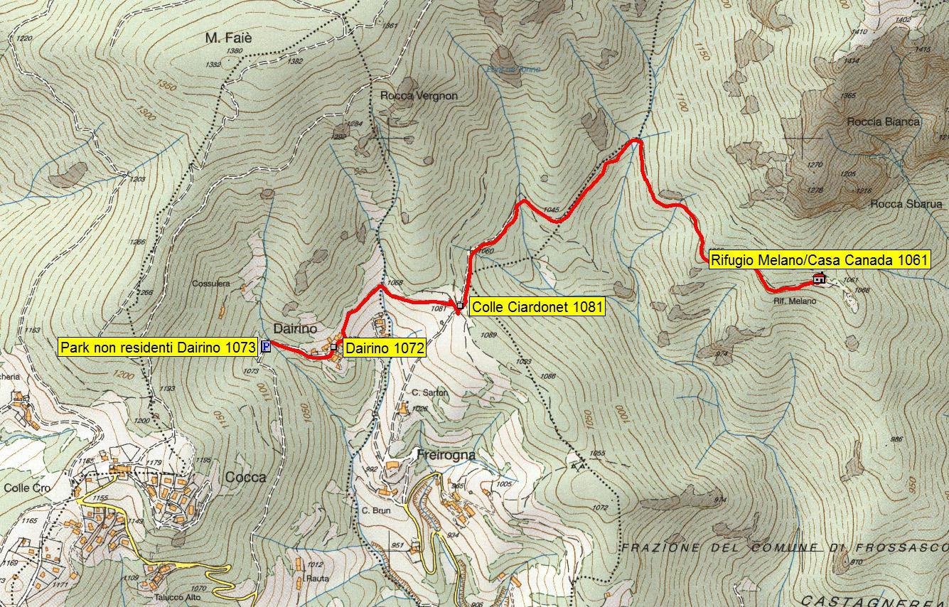 mappa itinerario da Dairino