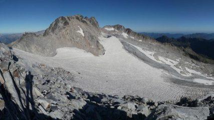 il glaciar visto da sotto la cima