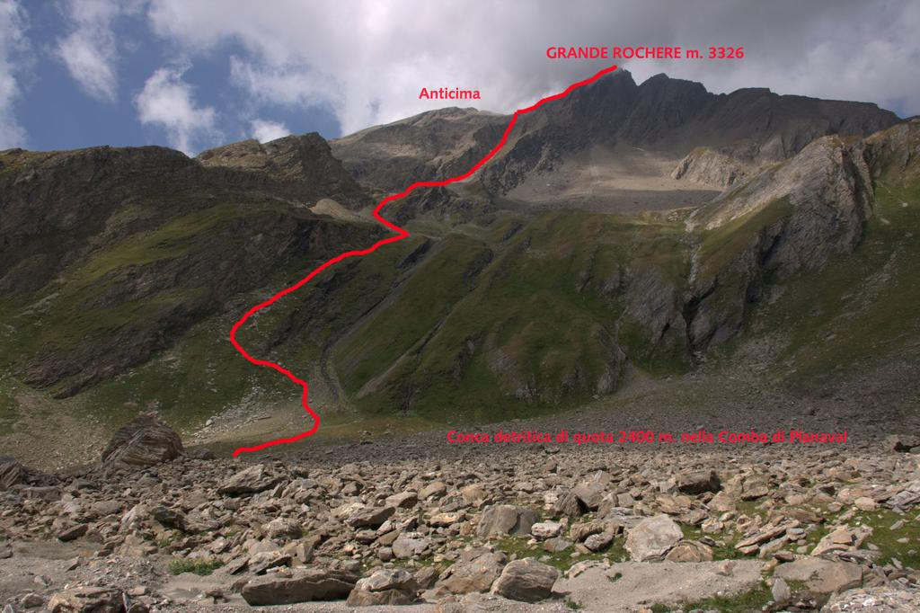 Grande Rochère versante Est e itinerario di salita seguito (22-8-2009)