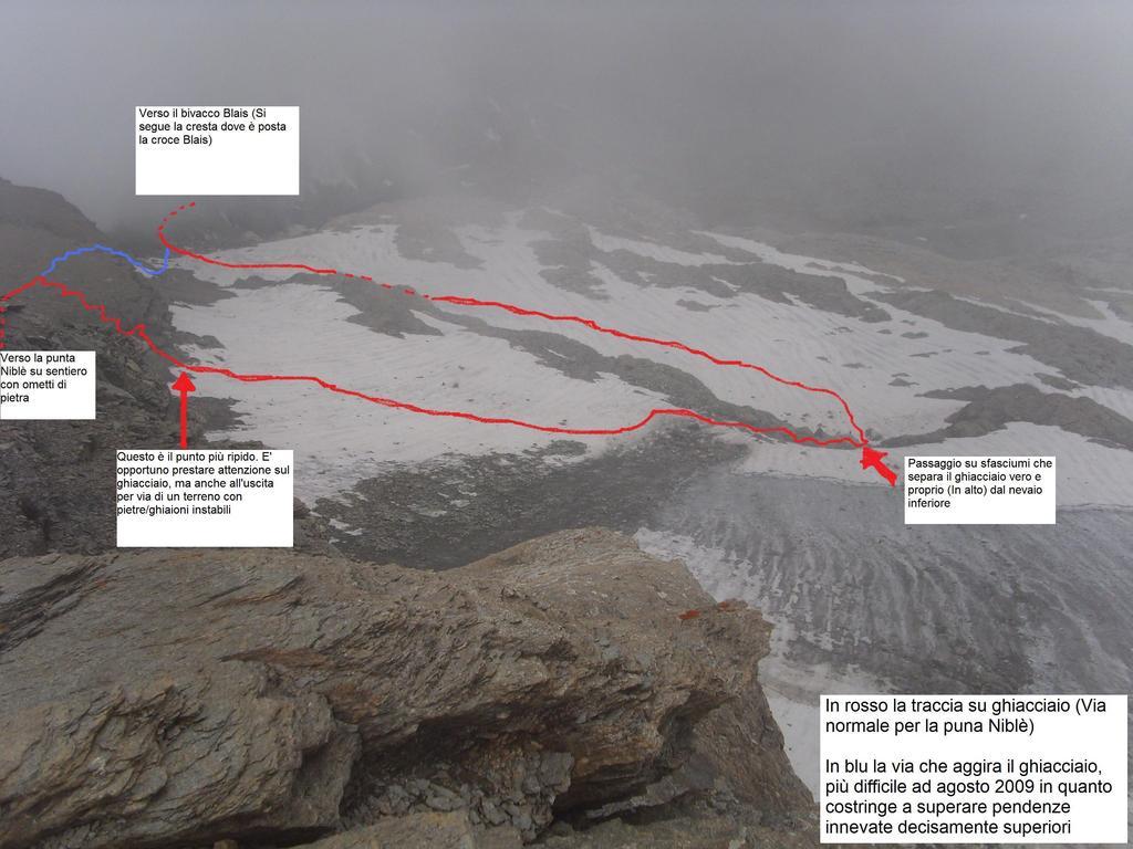 il passaggio sul ghiacciaio visto dalla vetta. La prospettiva schiaccia le pendenze. Il tracciato percorso è il più semplice e meno ripido.