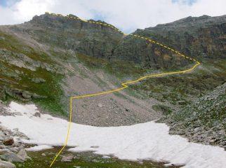 Percorso della salita in vetta dal vallone della Camosciera attraverso il canalino (tratteggiato) ed il percorso sotto cresta dal colle (idem)