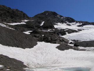 La Tersiva dalla base del ghiacciaio, a sx il passaggio per evitarlo