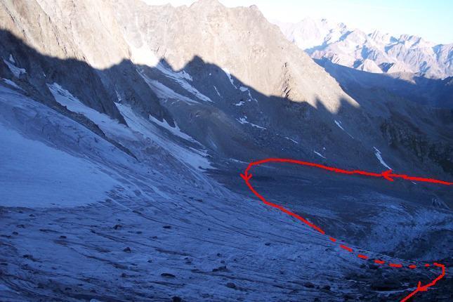 Primo ghiacciaio con l'ampio semicerchio che si deve compiere