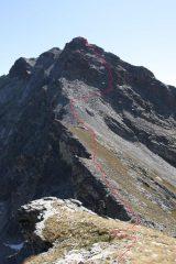percorso seguito per risalire il versante ovest del pelvo d'elva