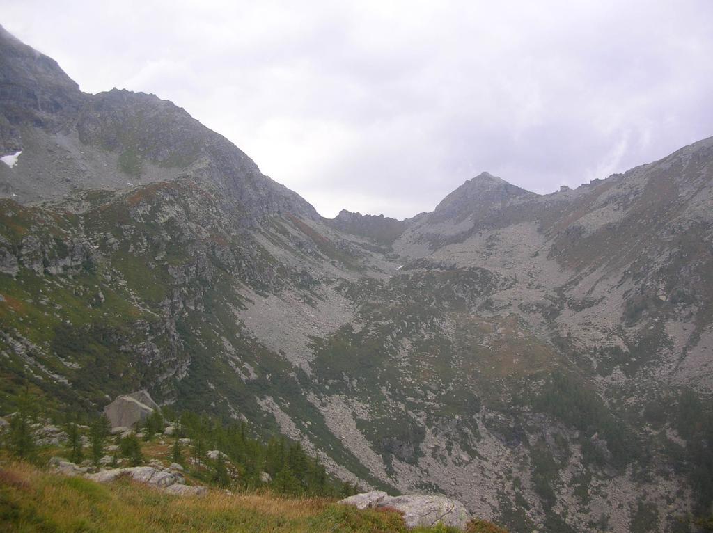 La Bocchetta Fioria e l' alto vallone dell' Alpe Cherson visti dal pianoro della Mela Spaccata.