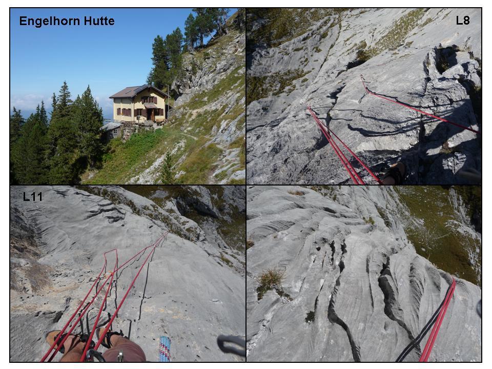 Engelhorn Hutte; due momenti della salita; la roccia degli Engelhorner.