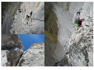 alcuni momenti dell'arrampicata