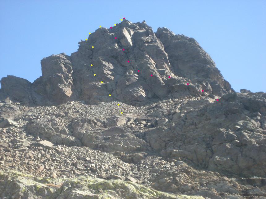 la parte alpinistica conclusiva con il percorso effettuato: in rosso la salita e in giallo la discesa