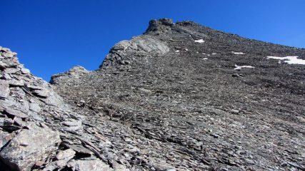 la parte finale della cresta verso la vetta della Punta Serpentiera (11-10-2009)
