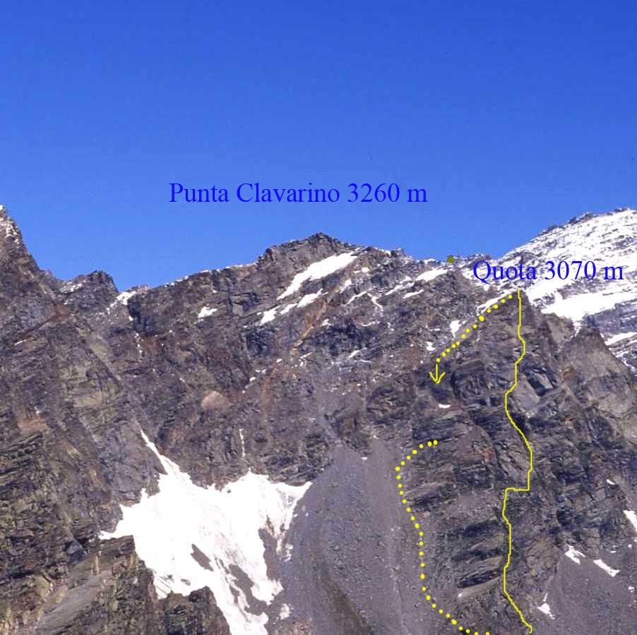 L'itinerario di salita alla quota 3070 m della Punta Luigi Clavarino