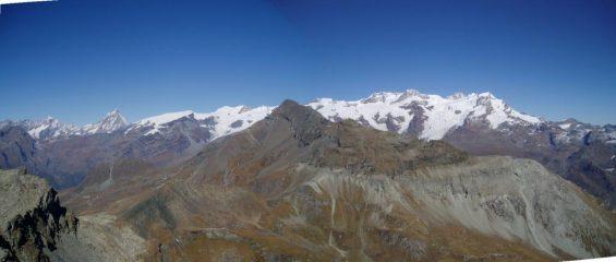 panoramica aui ghiacciai e in primo piano la Testa Grigia