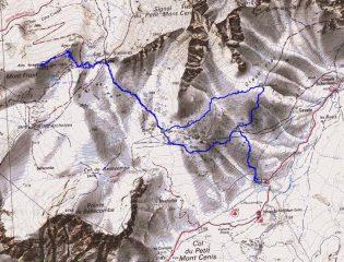 cartina e traccia gps andata e ritorno antiorario
