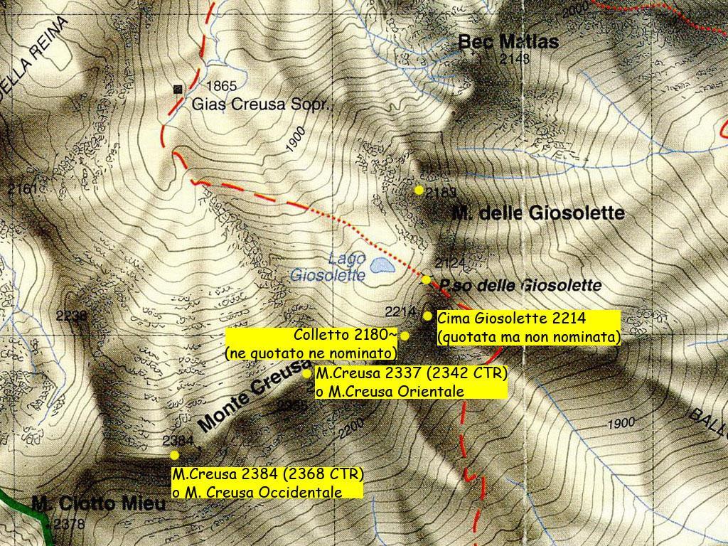 Costiera Creusa-Giosolette, stralcio carta Blù 1/25.000