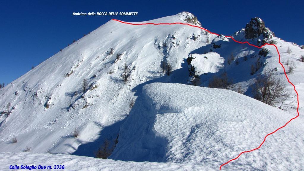 Rocca delle Sommette dal colle e via di salita (27-12-2009)