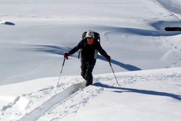 Ultime metri per Aldo in neve alta.